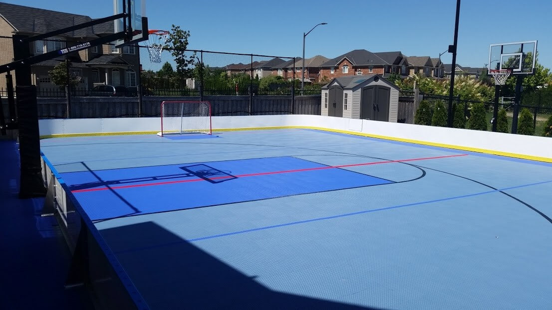 D1 backyard rinks synthetic ice basement or backyard for Basement sport court